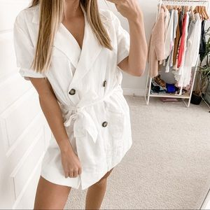 Posse Marly Button Front Mini Dress Clay White